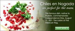 Stuffed Chiles in Waltnut Sauce Mexican recipe